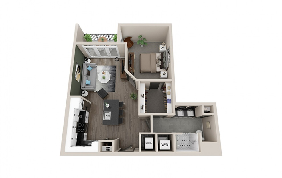 A3 - 1 bedroom floorplan layout with 1 bath and 790 square feet.