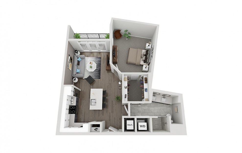 A3A - 1 bedroom floorplan layout with 1 bath and 857 square feet.