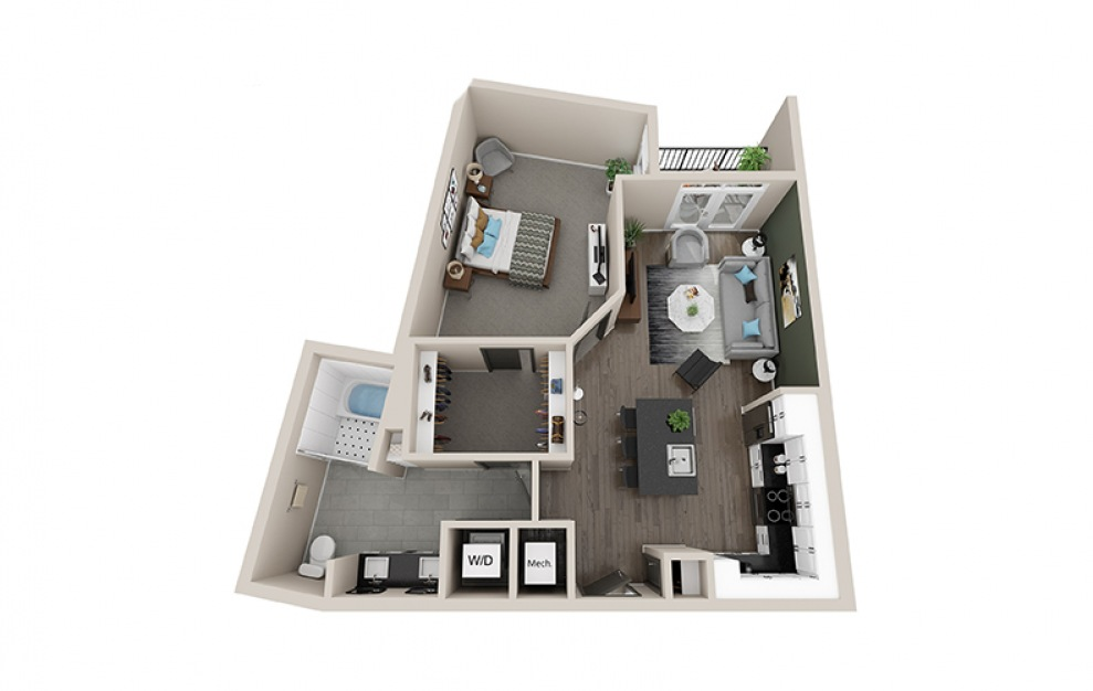 A3B - 1 bedroom floorplan layout with 1 bath and 875 square feet.