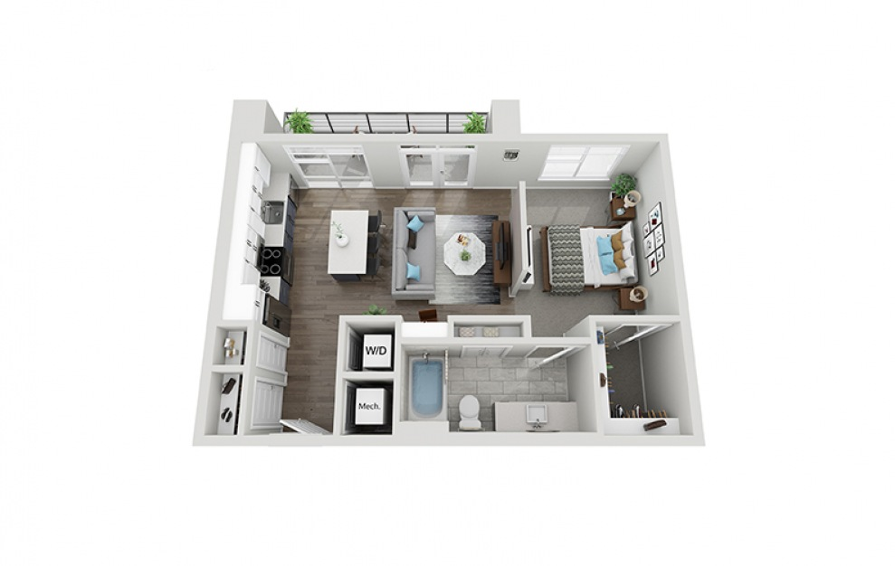 A4 - 1 bedroom floorplan layout with 1 bath and 672 square feet.