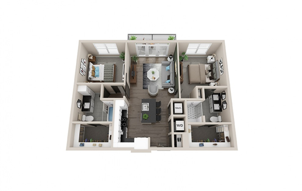 B1 floorplan at Scott Crossing - Luxury two bedroom apartment in Decatur, GA