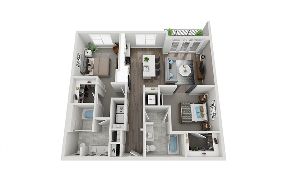 B2 - 2 bedroom floorplan layout with 2 baths and 1128 square feet.
