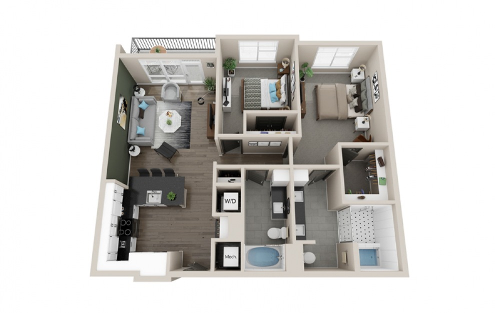 B3 floorplan at Scott Crossing - Luxury two bedroom apartment in Decatur, GA