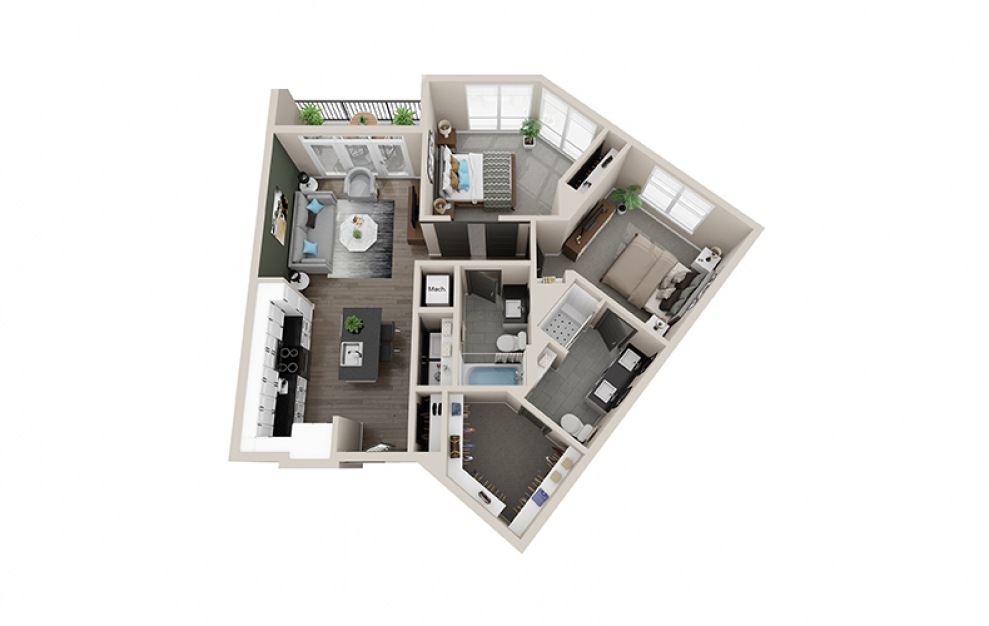 B5A - 2 bedroom floorplan layout with 2 baths and 1026 square feet.