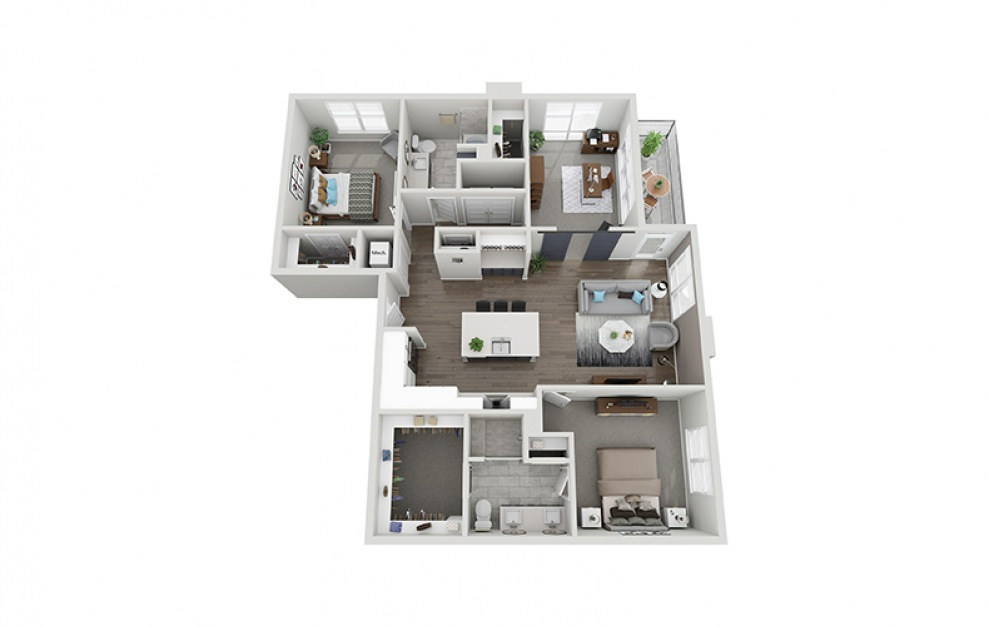 C1 - 3 bedroom floorplan layout with 2 baths and 1431 square feet.