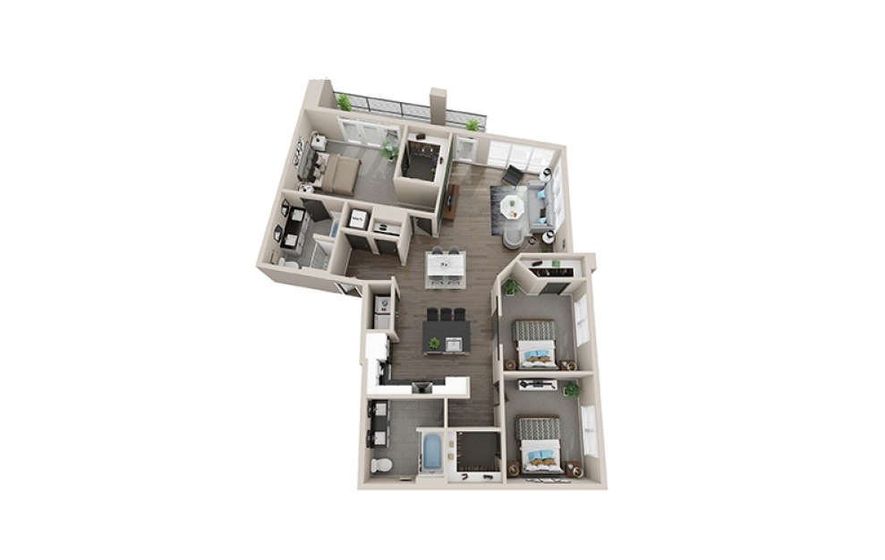 C1A - 3 bedroom floorplan layout with 2 baths and 1523 square feet.