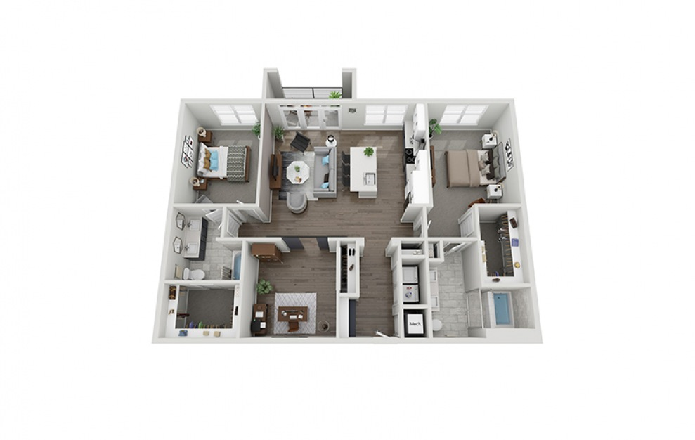 C3 floorplan at Scott Crossing - Luxury three bedroom apartment in Decatur, GA