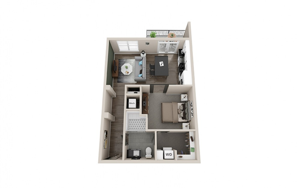 S5 floorplan at Scott Crossing - Luxury studio apartment in Decatur, GA